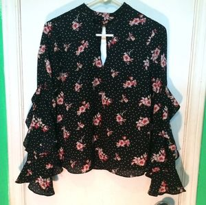 Timing black with pink flowers blouse